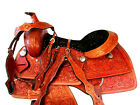 WESTERN ROPING SADDLE 16 17 PLEASURE FLORAL TOOLED LEATHER HORSE TRAIL TACK SET