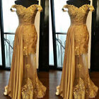 Mermaid Gold Long Evening Formal Dress Off the Shoulder Party Prom Gown Custom