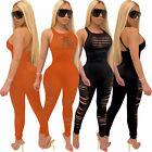 Fashion Women Solid Color Burn Out Crew Neck Sleeveless Bodycon Club Jumpsuit
