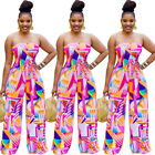 FashionWomen Colorful Strapless Off Shoulder Sleeveless WideLegs Casual Jumpsuit