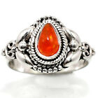 Artisan Orange Ethiopian Opal 925 Sterling Silver Ring Jewelry s.7.5 SDR45959 image