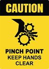 CAUTION! PINCH POINT KEEP HANDS CLEAR | Adhesive Vinyl Sign Decal