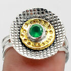 Two Tone - Green Onyx 925 Sterling Silver Handmade Ring Jewelry s.8 SDR73052
