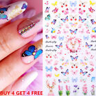 Rose Flowers Butterfly 3D Nail Stickers Red Nail Art Decals Decorations Tips