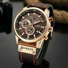 Curren Mens Waterproof Leather Army Military Chronograph Date Quartz Wrist Watch image
