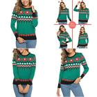 Aibrou Womens Christmas Sweater Snowflake Geometric Long Sleeve Jumper Pullover