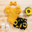 Newborn Baby Girl 3PCS Clothes Floral T Shirt Tops Shorts Headband Outfits Sets