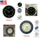 12/13Inch Wall Clock Silent Quartz Thermometer Clock Waterproof Outdoor Home USA