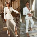 Women Suits Office Ladies Work Open Leg Trousers Wedding Party Formal Tuxedos