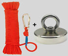 UPTO 2000LB Fishing Magnet Kit (Neodymium) Rope, Carabiner, Threadlocker, Gloves