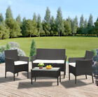 4pcs/set Rattan Table+chair Set Garden Furniture Set Sofa Patio Outdoor Hotel