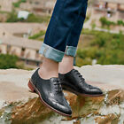 Handmade Women's Genuine Black Leather Wingtip Brogue Oxford Lace Up Shoes