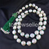 12-13mm freshwater pearl necklac CZ leopard clasp with green tassels 80cm
