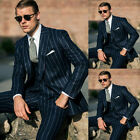 -Men Navy Blue Striped Suits Wide Lapel Formal Party Business Double-breasted