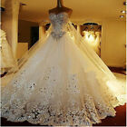 Luxury Crystal Sparkle Wedding Dresses with Detachable Back Train Bridal Gown
