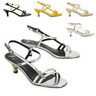 Womens Kitten Heel Strappy Sandals Ladies Slingback Open Toe Party Shoes Size