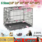 Dog Cage Puppy Pet Crate Carrier - Small Medium Large 18''-48'' Metal Foldable