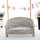 Willow Wicker Raised Pet Cat Dog Sofa Couch Cushioned Bed Plush Blanket Chair UK