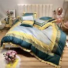 Luxury Egypt Cotton Bedding Set Embroidery Ruffles Duvet Cover Sheet Pillowcases