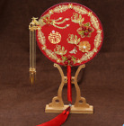Retro Golden Chinese Wedding Bride Bouquet Fan Dragon Phoenix Ancient Prop Fei34