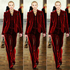 Wine Red Velvet Pant Suits Women Office Business Formal Work Wear 3 Piece Suits