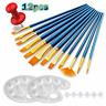 Acrylic Paint Brushes Set, 12Pcs Artist Paintbrushes/2 12 Brush + 2 Palette
