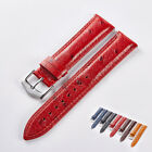 Watch Band Wristwatch Strap Cowhide Genuine Leather Watch Belt Parts Red 18-22mm image