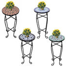 Garden Side Table Plant Stand Patio Bistro Balcony Round Mosaic Decor Vintage Uk