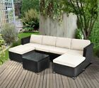 6 Seaters Rattan Garden Furniture Set Pation Sofa Stool Table Chair Set