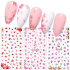 3D Nail Sticker Green Leaf Colorful Flower Transfer Decals Nail Art Decoration