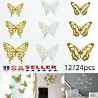 12/24pcs 3d Butterfly Wall Stickers Art Decals Home Room Decorations Sticker Set