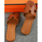 UK Women Oran Flat Beach Sandals Slippers Ladies Leather Sandals Slip On Slider
