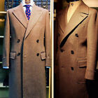 Men Tweed Wool Overcoat Khaki Long Suits Double-breasted Wide Lapel Jacket