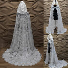 Full Lace Wedding Cape with Hooded Wedding Bridal Long Cloak Church Cape Jacket