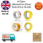 Strong Brown Clear Fragile Packing Tape 48mm x 91M 100Yards 6/36 Rolls