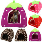 Fluffy Strawberry Pet Cat Dog Fleece Washable Igloo Bed Pyramid Cozy Kennel Home