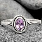 Natural Pink Amethyst - Brazil 925 Sterling Silver Ring Jewelry s.9 SDR99538