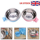 For Pet Cat Dog Crate Cage Food Water Bowl Hang-on Bowl Metal Stainless Steel UK