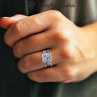 Ring Engagement Cut Zircon Simulated Diamonds Stone 925 Sterling Silver Filled
