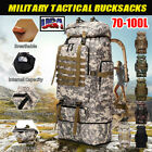 100L Large Waterproof Tactical Outdoor Backpack Travel Hiking Military Rucksack