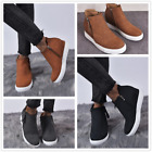 New Women's Suede Round Toe Hidden Wedge Sneaker Ankle Boots Side Zipper Shoes
