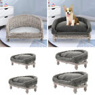 Chic Natural Wicker Pet Dog Cat Calming Bed Raised Nesting Basket Bed Sofa Couch