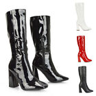 Womens High Heel Boots Ladies Square Toe Patent Shiny Go Go Dress Party Size 3-8