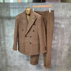 Men Winter Wool Plaid Slim Double-Breasted Suit Houndstooth Formal Groom Tuxedos