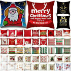 "18"" Christmas Xmas Cushion Cover Pillow Case Cotton Home Sofa Throw Party Decor"