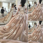 Champagne Muslim Wedding Dresses Ball Gown V-Neck Long Sleeve White Lace Gown