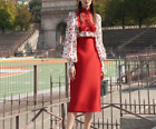 2021 Lady Occident fashion collar long sleeve fresh Printed shirt red skirt suit