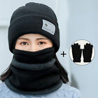 4Pcs/Set Winter Women Knitted Beanie Hat Warm Neck Scarf Face Cover Gloves Set