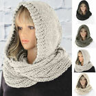 Autumn Winter Women Outdoor Thick Warm Keeping Solid Color Hat Hooded Scarf Eage