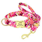Flower Personalized Dog Collar and Leash Set Custom ID Name Engraved Adjustable